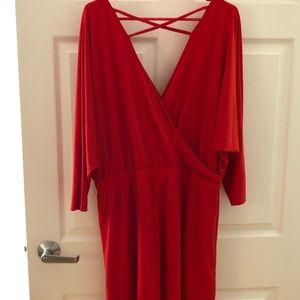 Express red A-line dress